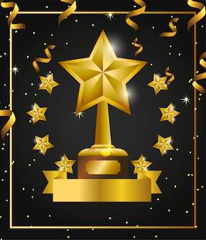 Prêmio de estrelas com estrelas e confetes para celebração