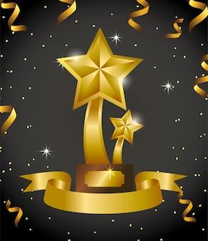 Prêmio de estrelas com fita e confete celebração