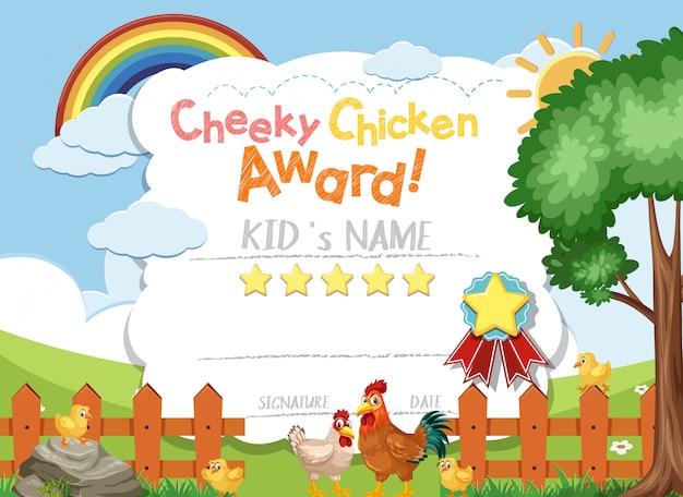 Prêmio de frango atrevido de design de modelo de certificado com galinhas na fazenda