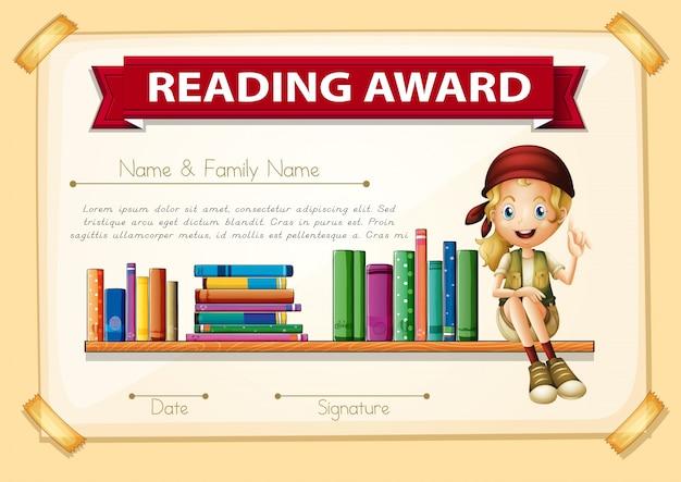Prêmio de leitura com garota e livros