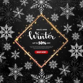 Prêmio de modelo de banner de venda de inverno
