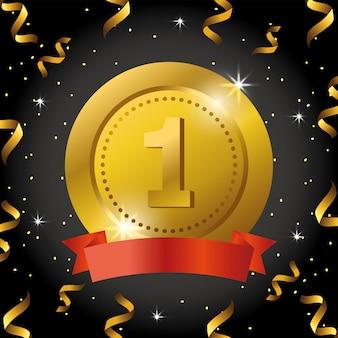 Prêmio de moeda com fita e confete para celebração