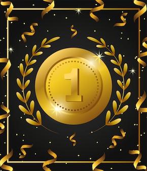 Prêmio de moeda com folhas de ramos e confetes