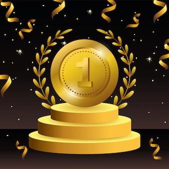 Prêmio de moeda com ramos sai para celebração