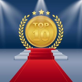 Prêmio de ouro entre os dez melhores pódio