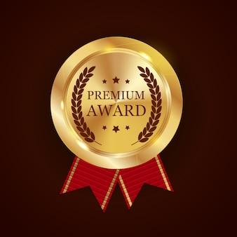 Prêmio de ouro premium com fita
