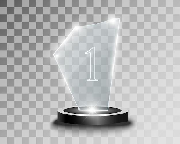 Prêmio de vidro. estatueta para o vencedor.