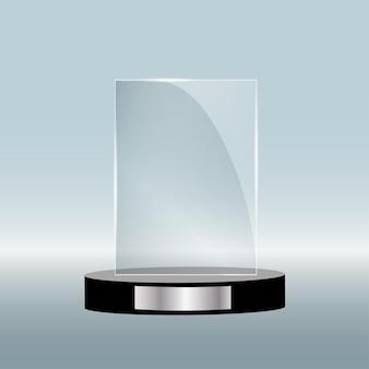 Prêmio de vidro vazio isolado, modelo de troféu transparente.