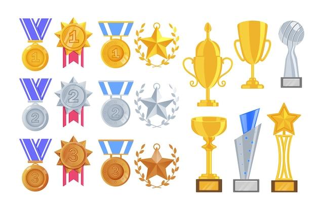 Prêmio do esporte. taça e taça de troféu, estrela com pendente de coroa e alça, medalha pendurada para primeiro, segundo e terceiro lugar. item de prêmio do vencedor do jogo ou esporte dourado, prata, bronze definido em branco