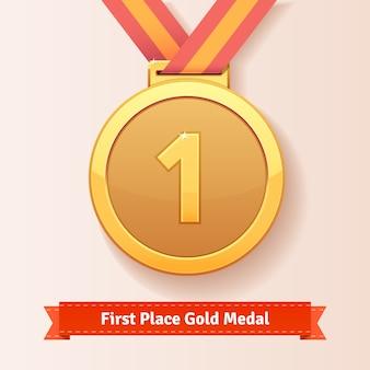 Prêmio do primeiro lugar medalha de ouro com fita vermelha