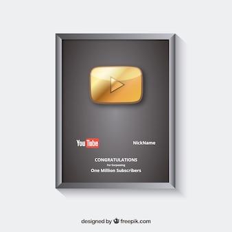Prêmio do youtube para assinantes com design plano
