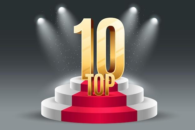 Prêmio dos dez melhores pódio com luzes