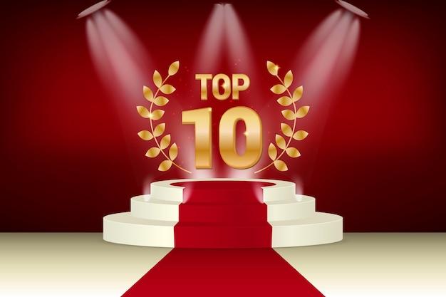 Prémio dos dez melhores pódio de ouro