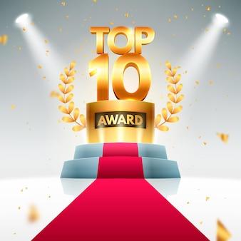 Prêmio dos dez melhores pódio Vetor grátis