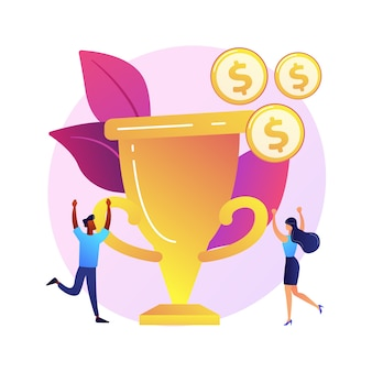Prêmio em dinheiro, troféu, recompensa merecida. sucesso da equipe, campeonato, grande realização. destinatários de prêmios monetários, personagens de desenhos animados vencedores
