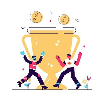 Prêmio em dinheiro, troféu, recompensa merecida.