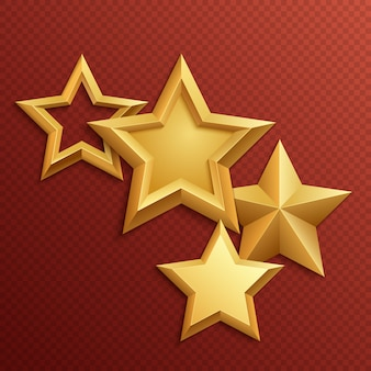 Prêmio estrelas douradas de metal brilhante. metal brilhante ouro e estrelas brilhantes de ouro