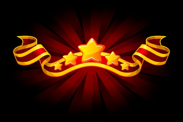 Prêmio fita vermelha com estrelas douradas por recursos do jogo de interface do usuário. objetos em camadas separadas.