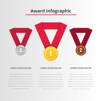 Prêmio infográfico com imagem de medalhas