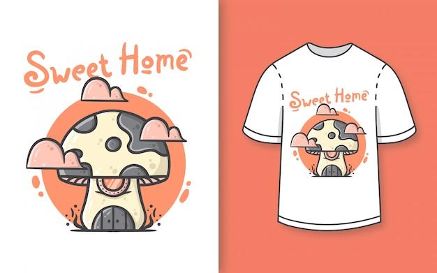 Prémio mão desenhada bonito cogumelo casa ilustração para camiseta Vetor Premium