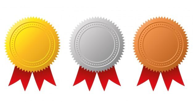 Prêmio medalhas de ouro, prata e bronze.