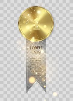 Prêmio medalhas isoladas em fundo transparente. conceito de vencedor.