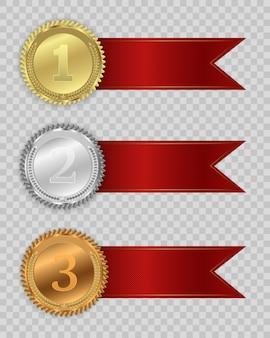 Prêmio medalhas isoladas em fundo transparente.