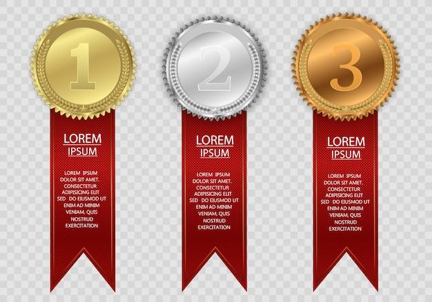 Prêmio medalhas isoladas em um fundo transparente. ilustração em vetor de um conceito de vencedor.