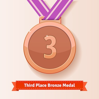 Prêmio no terceiro lugar medalha de bronze com fita lilás
