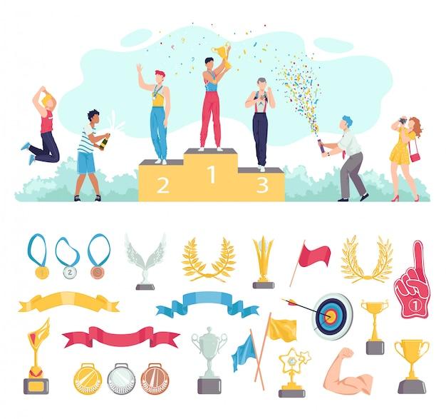 Prêmio para pessoas que ganham no conjunto de ilustração do esporte, personagens de desenhos animados do esportista em pé no pódio, prêmios ícones em branco