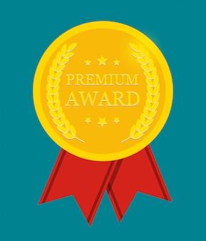 Prémio prémio medalha de ouro com fita vermelha. sinal de ícone isolado no branco.