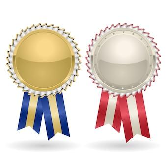 Prêmio roseta ouro e prata com fitas. o selo da medalha de vencedor premia a insígnia, fita dourada