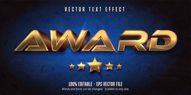 Prêmio texto, efeito de texto editável de estilo metálico ouro