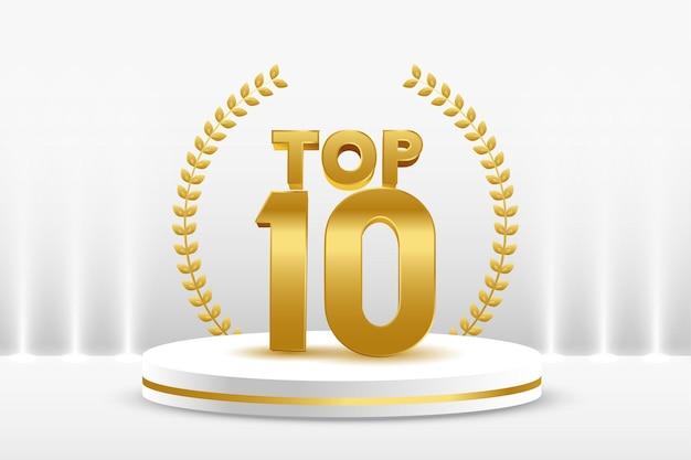 Prêmio top 10 do pódio de ouro