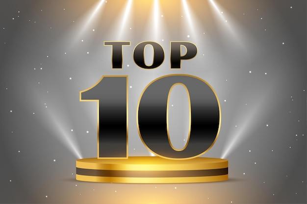 Prêmio top 10 do pódio dourado brilhante