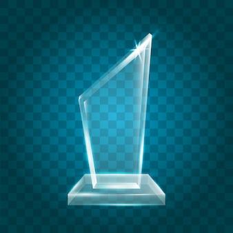 Prêmio troféu de vidro de cristal acrílico transparente e brilhante