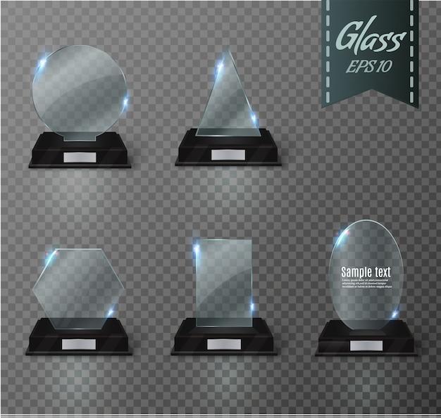 Prêmio troféu de vidro em branco em um fundo transparente