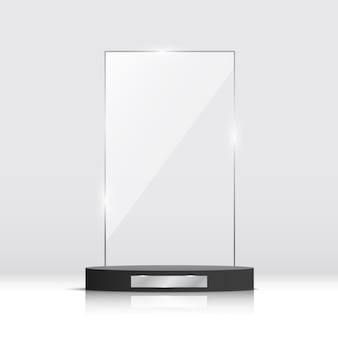 Prêmio troféu de vidro vazio. ilustração.