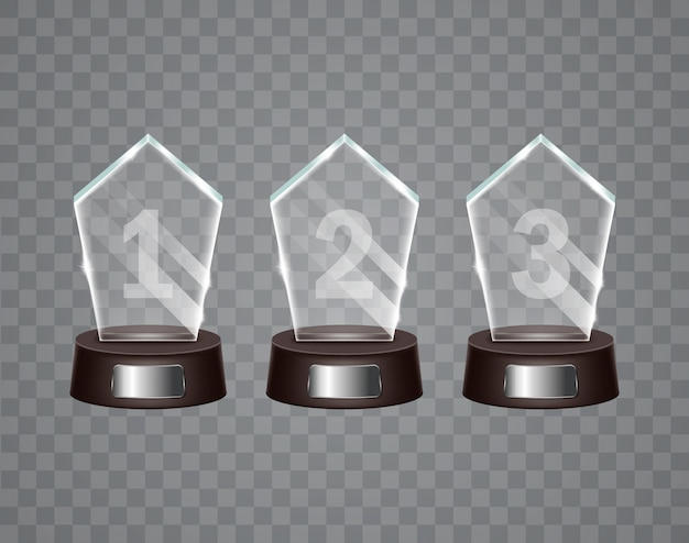 Prêmio troféu de vidro.