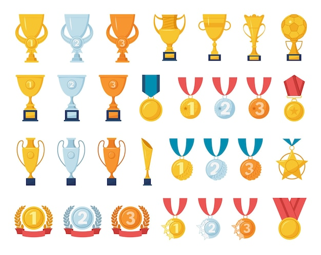 Prêmio troféu jogo esportivo vencedor do campeonato da taça de ouro troféu do primeiro lugar medalhas de ouro, prata