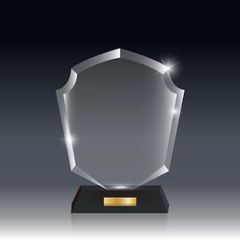 Prêmio troféu transparent realistic blank acrílico glass