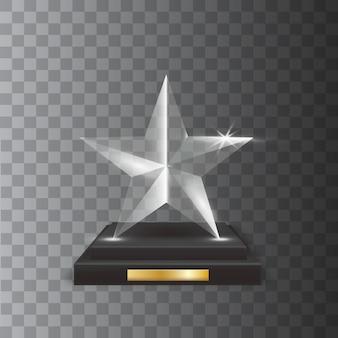Prêmio troféu transparent realistic blank glass