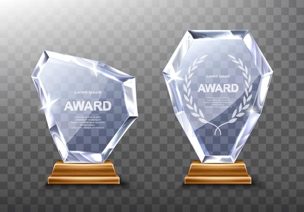 Prêmio troféus de vidro