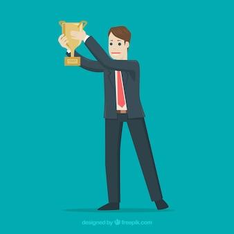 Prêmio vencedor de personagem feliz com design plano