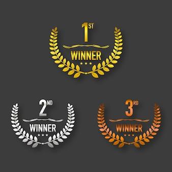 Prêmio vencedor ouro, prata e marrom