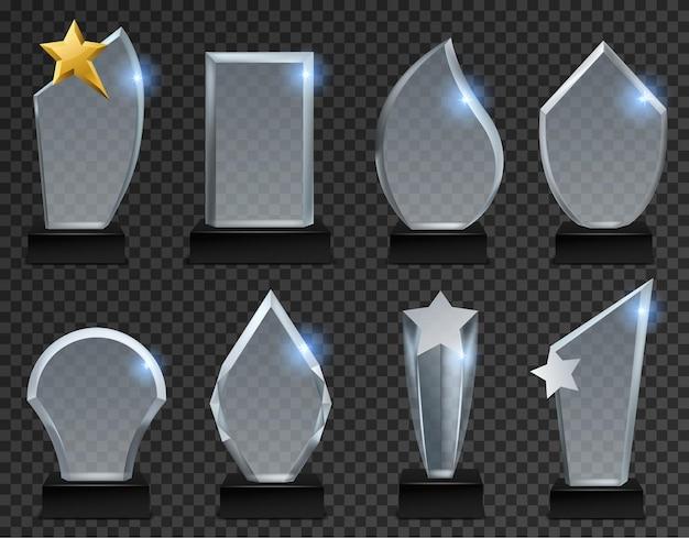 Prêmios acrílicos transparentes em várias formas