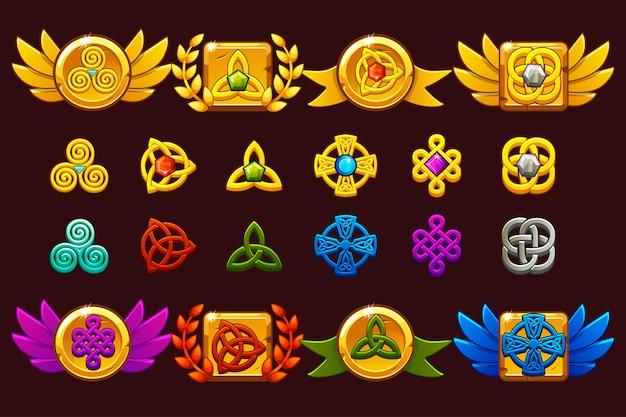 Prêmios com símbolos celtas. modelo recebendo conquista do jogo.
