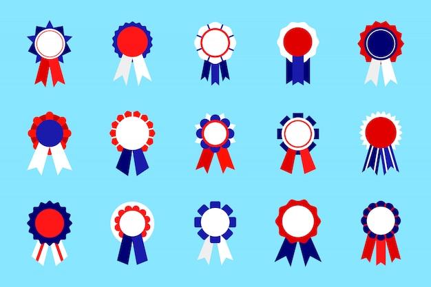 Prêmios de emblema colorido conjunto com fita