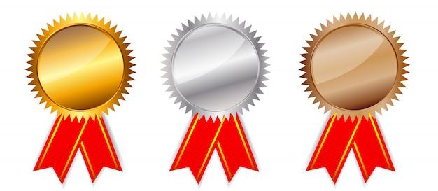 Prêmios de ouro, prata e bronze.