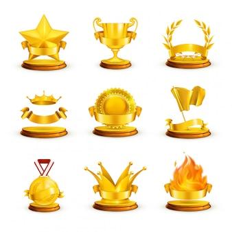 Prêmios de ouro, set vector